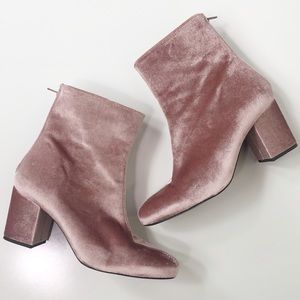 Free People Pink Velvet Booties
